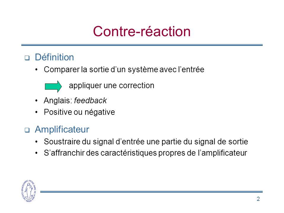 2 Contre-réaction  Définition •Comparer la sortie d'un système avec l'entrée appliquer une correction •Anglais: feedback •Positive ou négative  Ampl