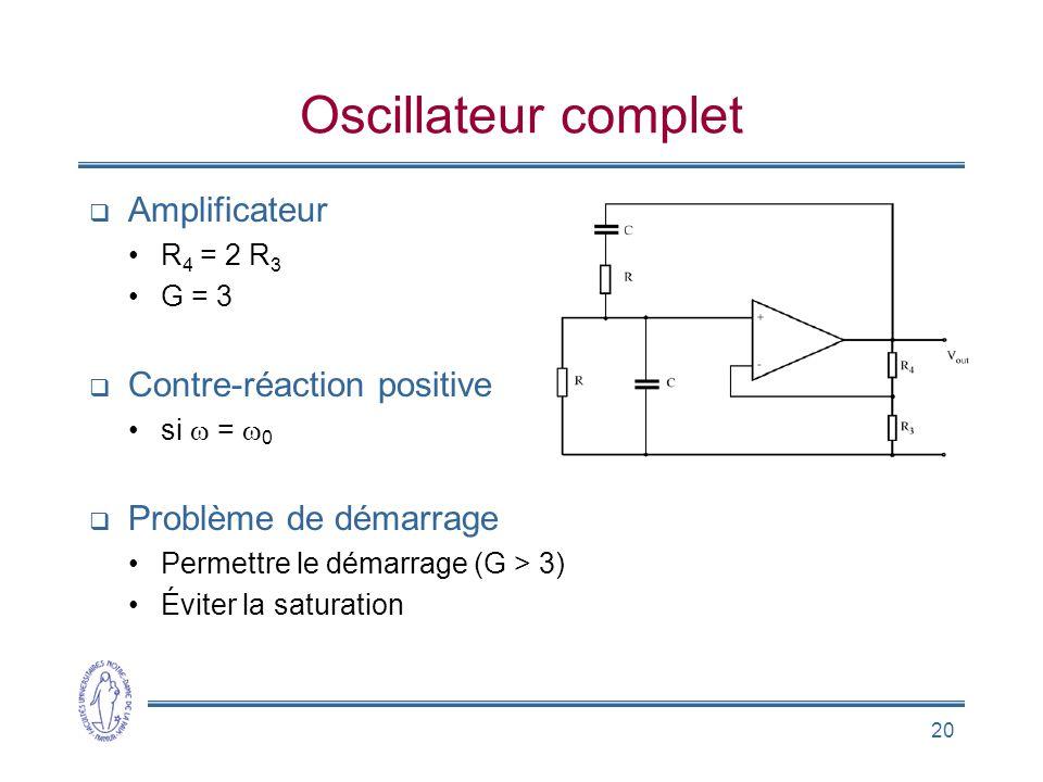 20 Oscillateur complet  Amplificateur •R 4 = 2 R 3 •G = 3  Contre-réaction positive •si  =  0  Problème de démarrage •Permettre le démarrage (G >