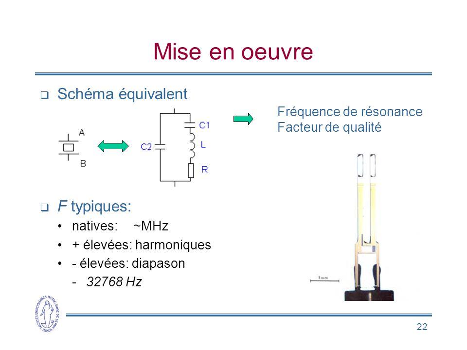 22 Mise en oeuvre  Schéma équivalent  F typiques: •natives:~MHz •+ élevées: harmoniques •- élevées: diapason -32768 Hz Fréquence de résonance Facteu