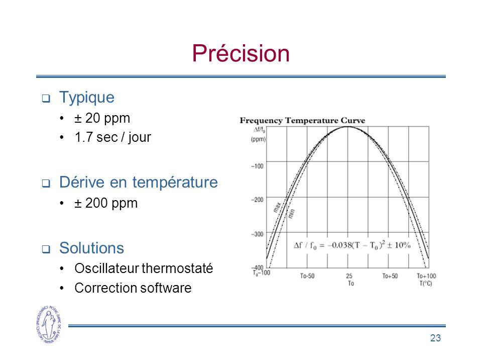 23 Précision  Typique •± 20 ppm •1.7 sec / jour  Dérive en température •± 200 ppm  Solutions •Oscillateur thermostaté •Correction software