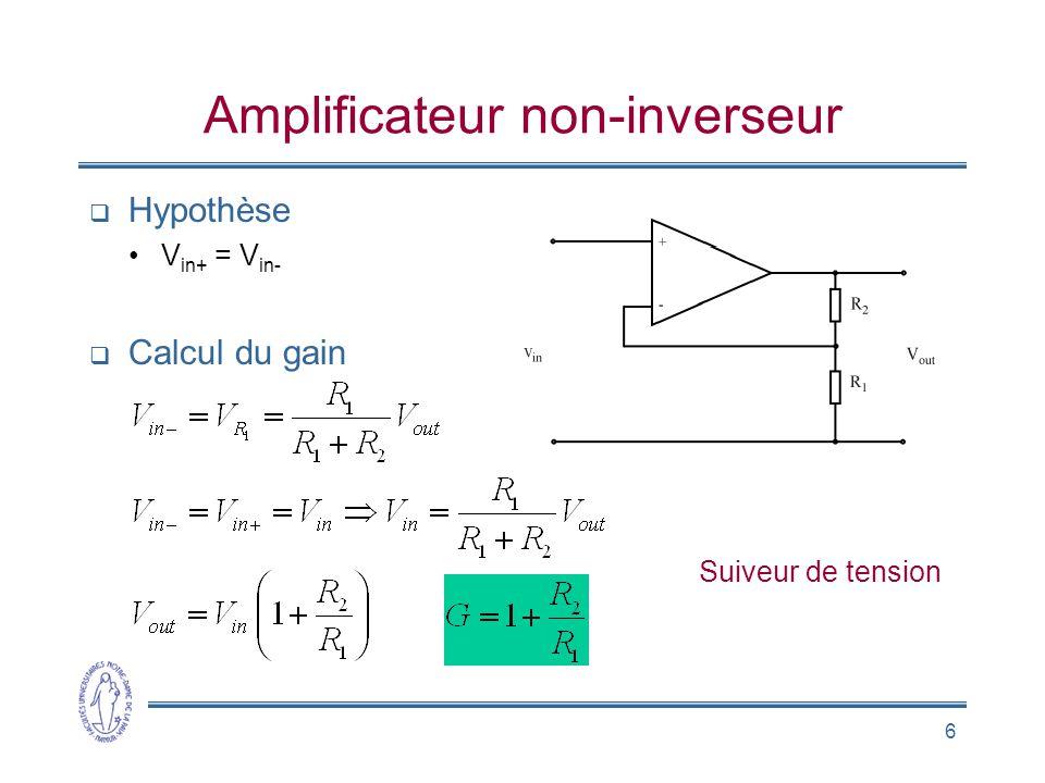 6 Amplificateur non-inverseur  Hypothèse •V in+ = V in-  Calcul du gain Suiveur de tension