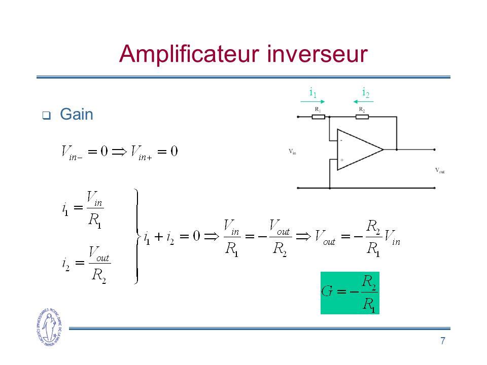 8 Amplificateur opérationnel réel CA 3140 •Z in = 1 T  •Z out = 60  •A = 10 5 •G CM  0, mais dispositif de compensation de l'offset •Alimentation symétrique •Saturation: V H et V L •Limite de courant de sortie