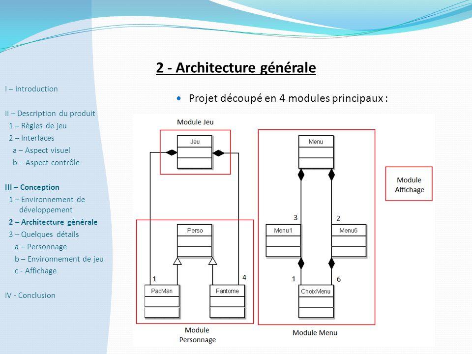 2 - Architecture générale  Projet découpé en 4 modules principaux : I – Introduction II – Description du produit 1 – Règles de jeu 2 – Interfaces a –