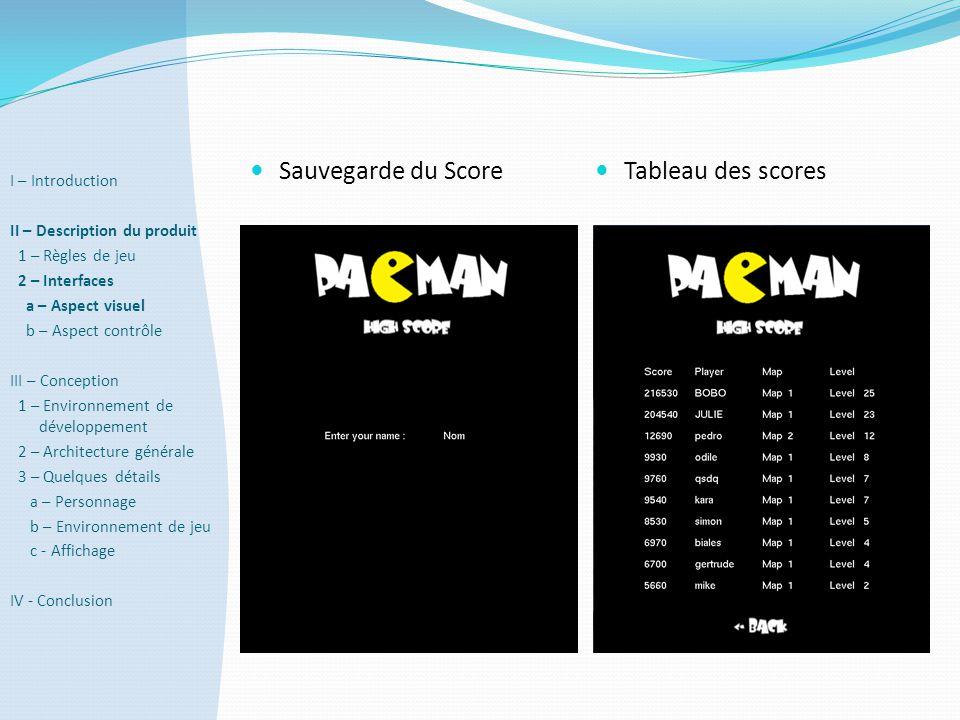  Sauvegarde du Score  Tableau des scores I – Introduction II – Description du produit 1 – Règles de jeu 2 – Interfaces a – Aspect visuel b – Aspect