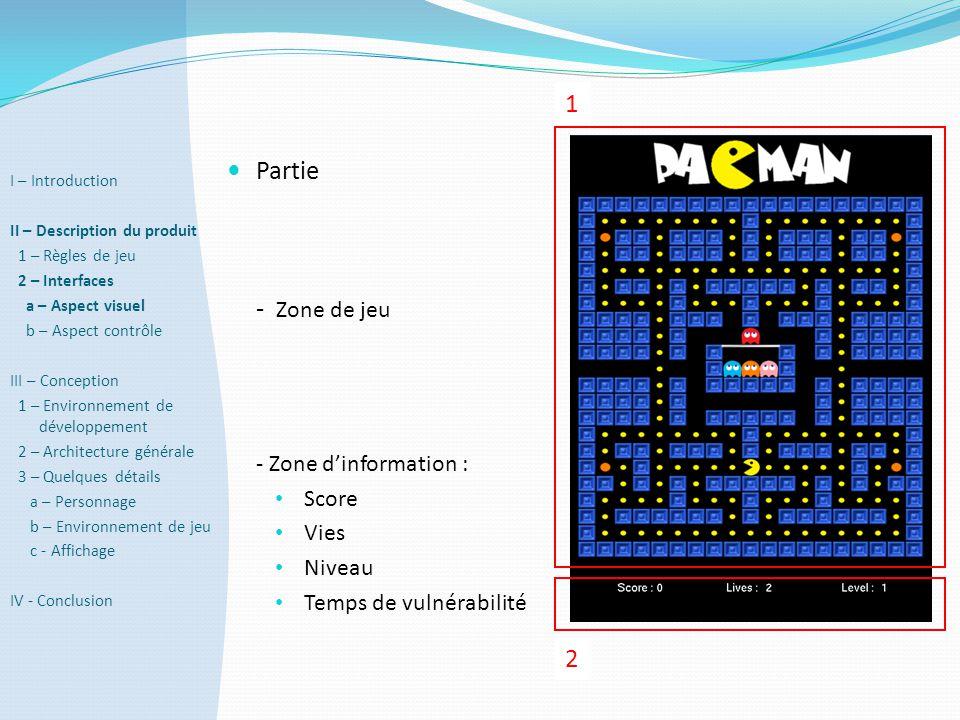  Partie - Zone de jeu - Zone d'information : • Score • Vies • Niveau • Temps de vulnérabilité 1 2 I – Introduction II – Description du produit 1 – Rè