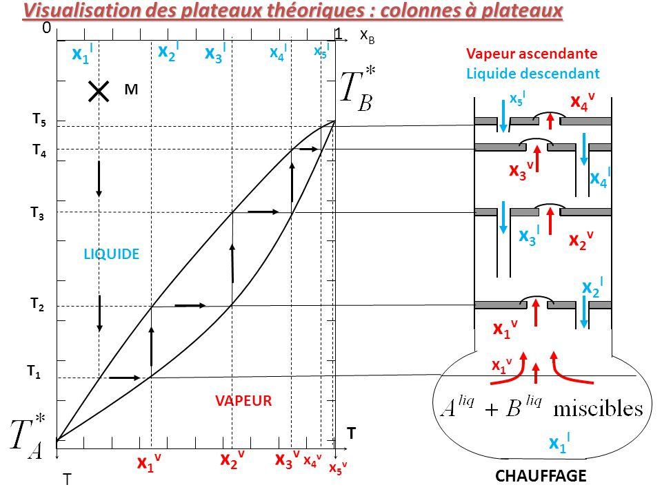 Visualisation des plateaux théoriques : colonnes à plateaux CHAUFFAGE Vapeur ascendante Liquide descendant xBxB 0 1 T T M VAPEUR LIQUIDE T2T2 T3T3 T4T4 T5T5 x1vx1v x2vx2v x3vx3v x4vx4v x1vx1v x2lx2l x3lx3l x4lx4l x5lx5l x1lx1l x5vx5v x5lx5l x1lx1l T1T1 x1vx1v x2vx2v x3vx3v x4vx4v x2lx2l x3lx3l x4lx4l