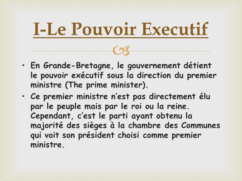 •En Grande-Bretagne, le gouvernement détient le pouvoir exécutif sous la direction du premier ministre (The prime minister).
