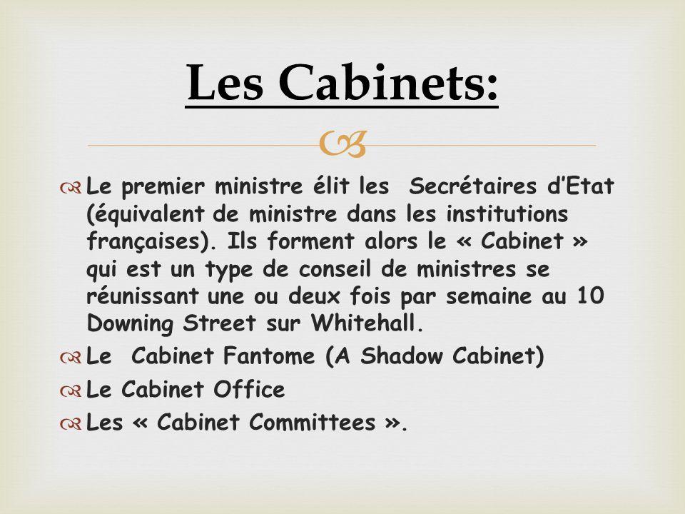  Le premier ministre élit les Secrétaires d'Etat (équivalent de ministre dans les institutions françaises).