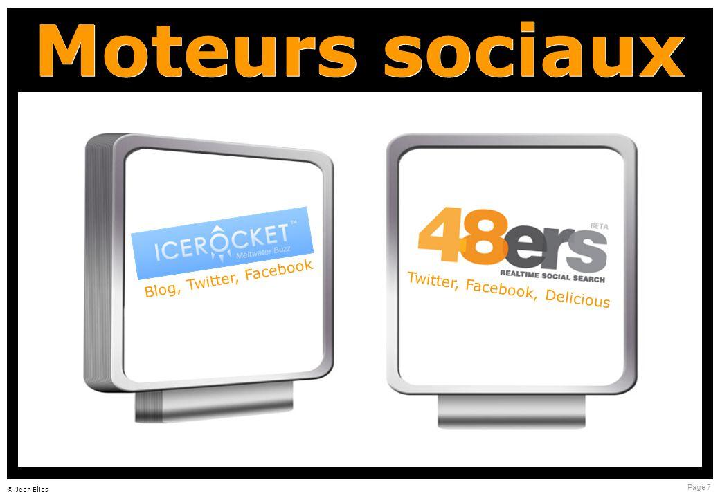 Page 7 © Jean Elias Moteurs sociaux Blog, Twitter, Facebook Twitter, Facebook, Delicious
