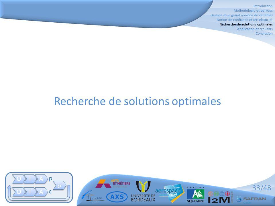 33/48 Recherche de solutions optimales Introduction Méthodologie et verrous Gestion d'un grand nombre de variables Notion de confiance et arc-élastici