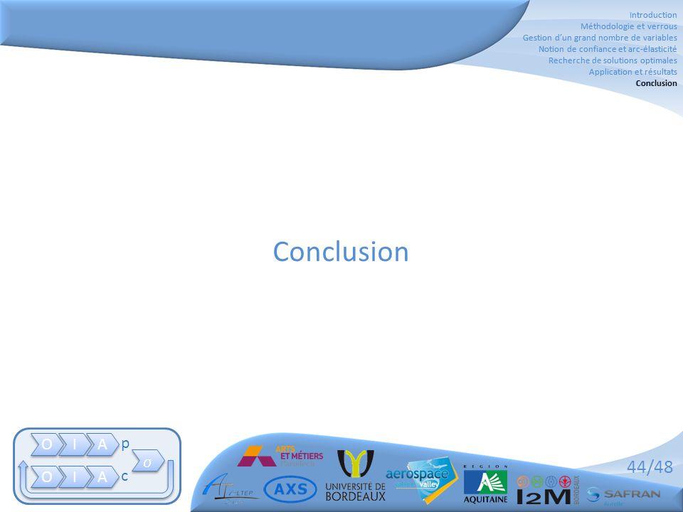 44/48 Conclusion Introduction Méthodologie et verrous Gestion d'un grand nombre de variables Notion de confiance et arc-élasticité Recherche de soluti