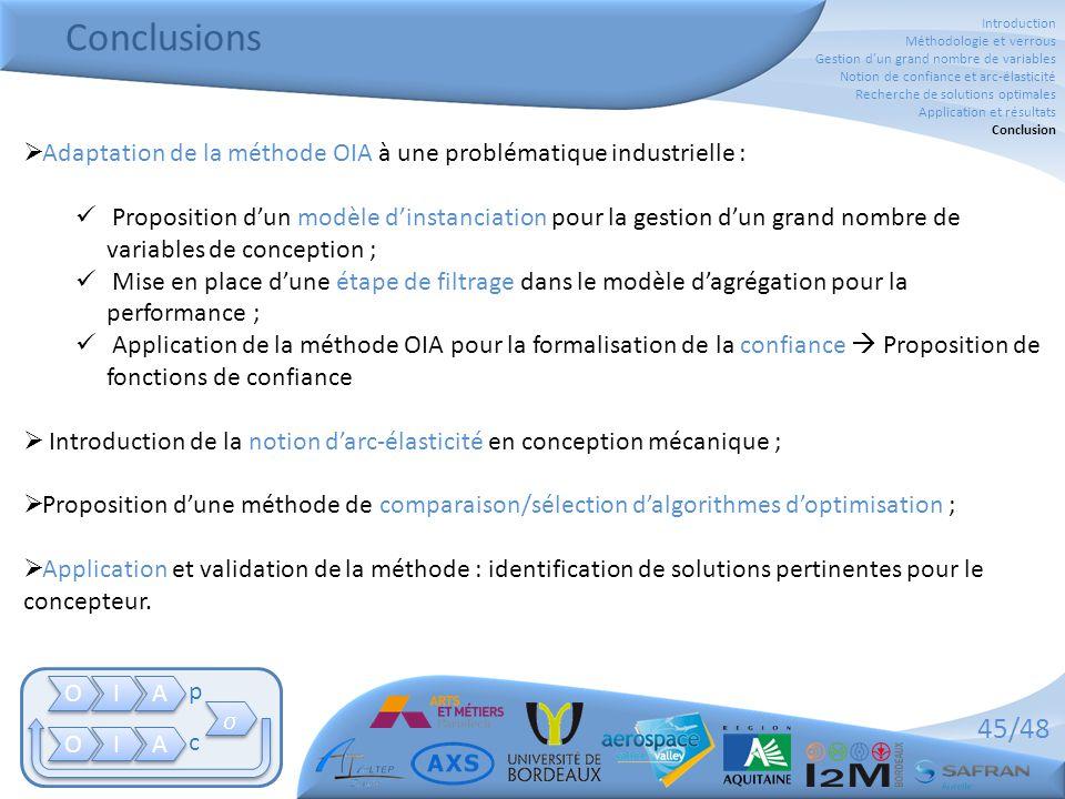 45/48 Conclusions O O I I A A O O I I A A   p c  Adaptation de la méthode OIA à une problématique industrielle :  Proposition d'un modèle d'instan