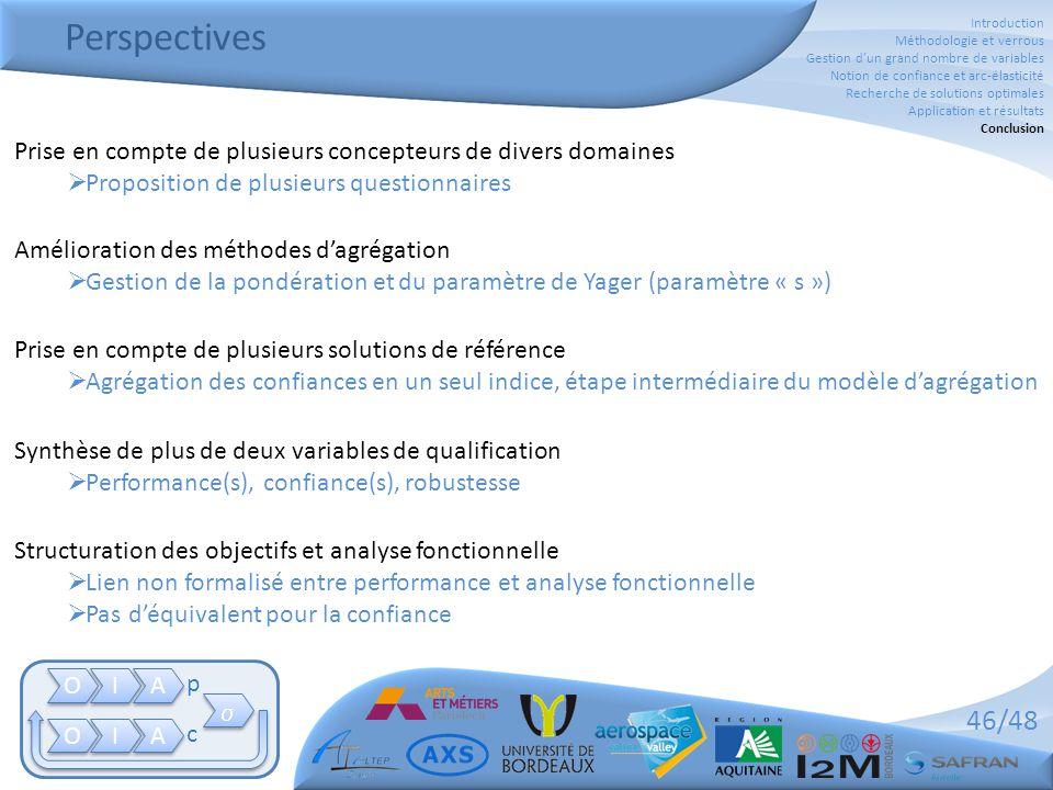 46/48 Perspectives Prise en compte de plusieurs concepteurs de divers domaines  Proposition de plusieurs questionnaires Synthèse de plus de deux vari