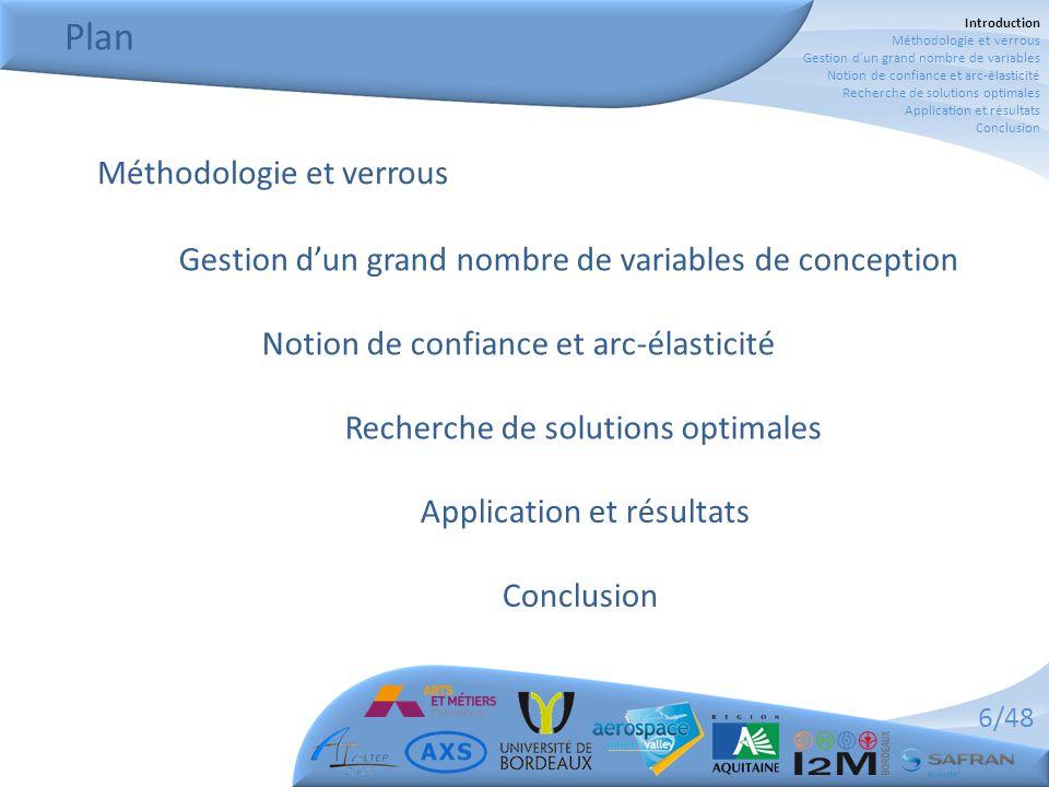 6/48 Plan Application et résultats Conclusion Méthodologie et verrous Gestion d'un grand nombre de variables de conception Notion de confiance et arc-