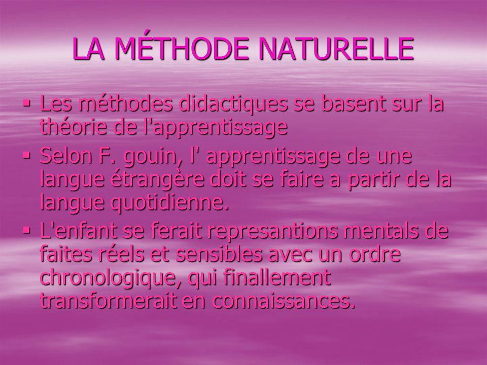 LA MÉTHODE NATURELLE  Les méthodes didactiques se basent sur la théorie de l apprentissage  Selon F.