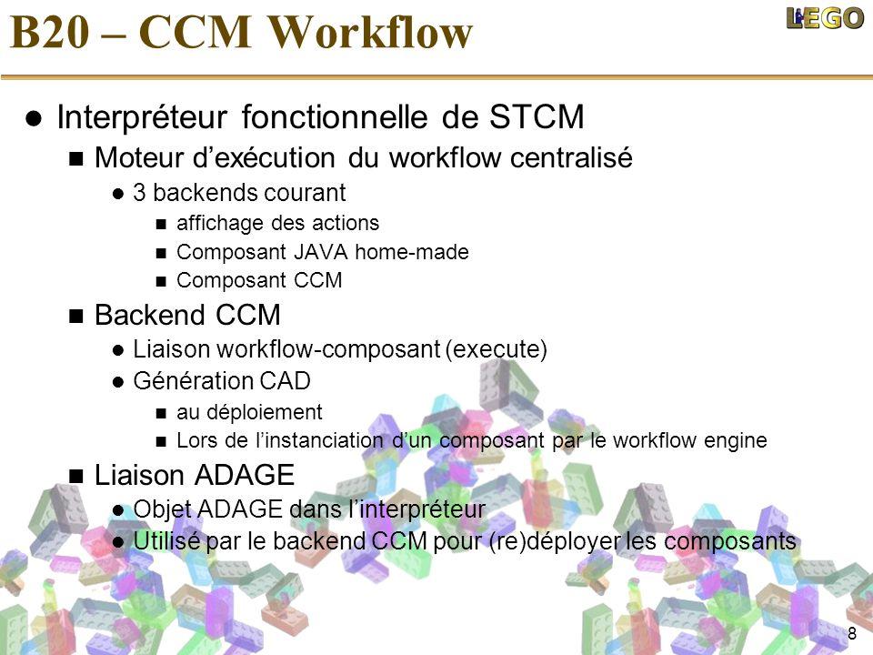 8 B20 – CCM Workflow  Interpréteur fonctionnelle de STCM  Moteur d'exécution du workflow centralisé  3 backends courant  affichage des actions  Composant JAVA home-made  Composant CCM  Backend CCM  Liaison workflow-composant (execute)  Génération CAD  au déploiement  Lors de l'instanciation d'un composant par le workflow engine  Liaison ADAGE  Objet ADAGE dans l'interpréteur  Utilisé par le backend CCM pour (re)déployer les composants
