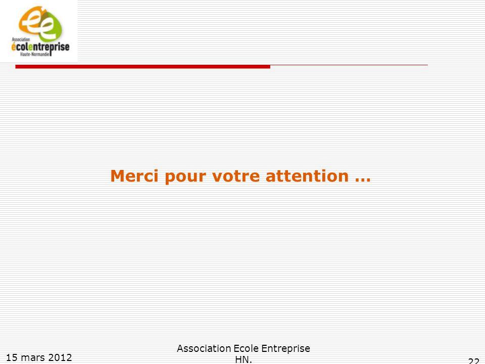 15 mars 2012 Association Ecole Entreprise HN. 22 Merci pour votre attention …