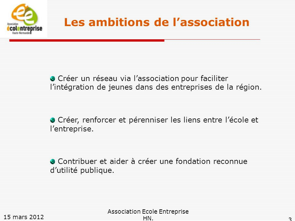 Les ambitions de l'association : un effet mutuellement bénéfique pour les parties prenantes ELEVES EDUCATION NATIONALE ENTREPRISES implantées sur le TERRITOIRE REGIONAL Elévation culturelle Découverte du monde du travail Ouverture réciproque