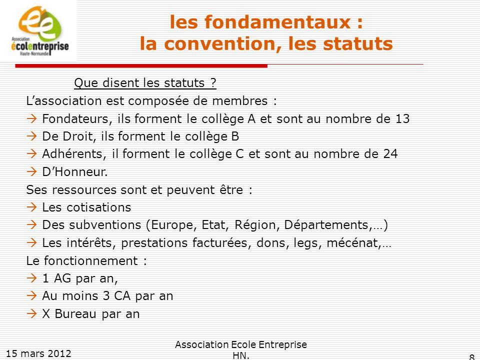 les fondamentaux : la convention, les statuts Que disent les statuts .