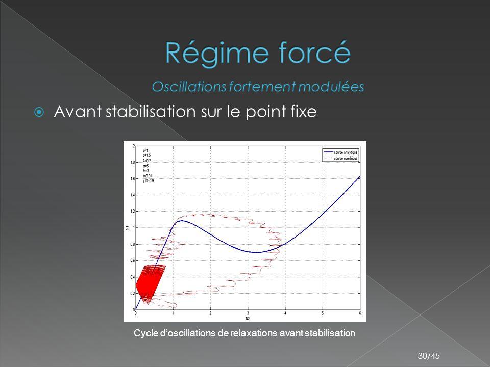 30/45  Avant stabilisation sur le point fixe Cycle d'oscillations de relaxations avant stabilisation