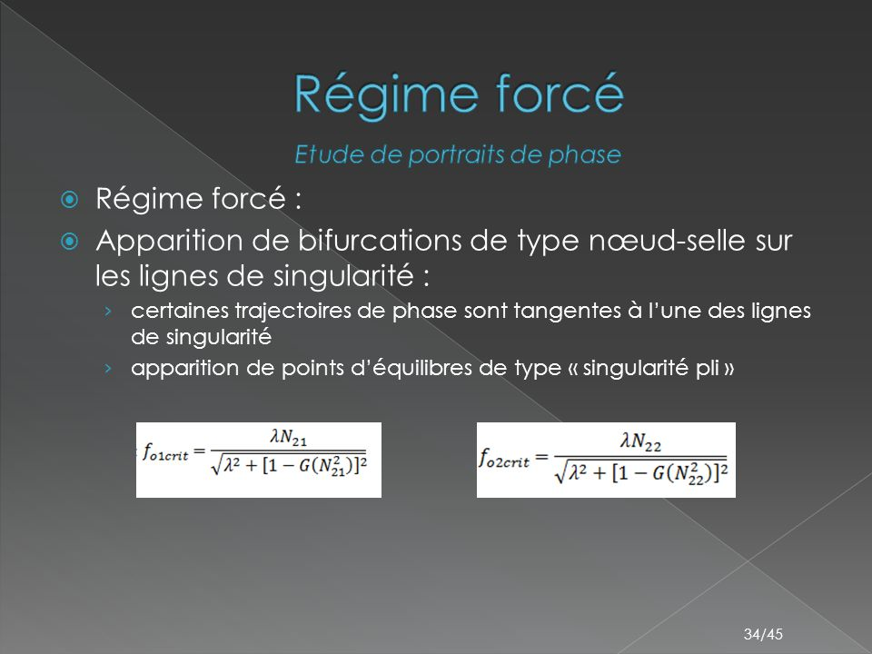 34/45  Régime forcé :  Apparition de bifurcations de type nœud-selle sur les lignes de singularité : › certaines trajectoires de phase sont tangentes à l'une des lignes de singularité › apparition de points d'équilibres de type « singularité pli »