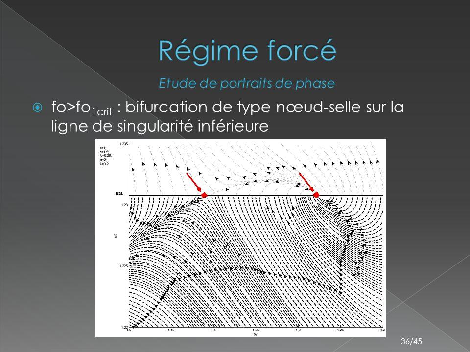 36/45  fo>fo 1crit : bifurcation de type nœud-selle sur la ligne de singularité inférieure