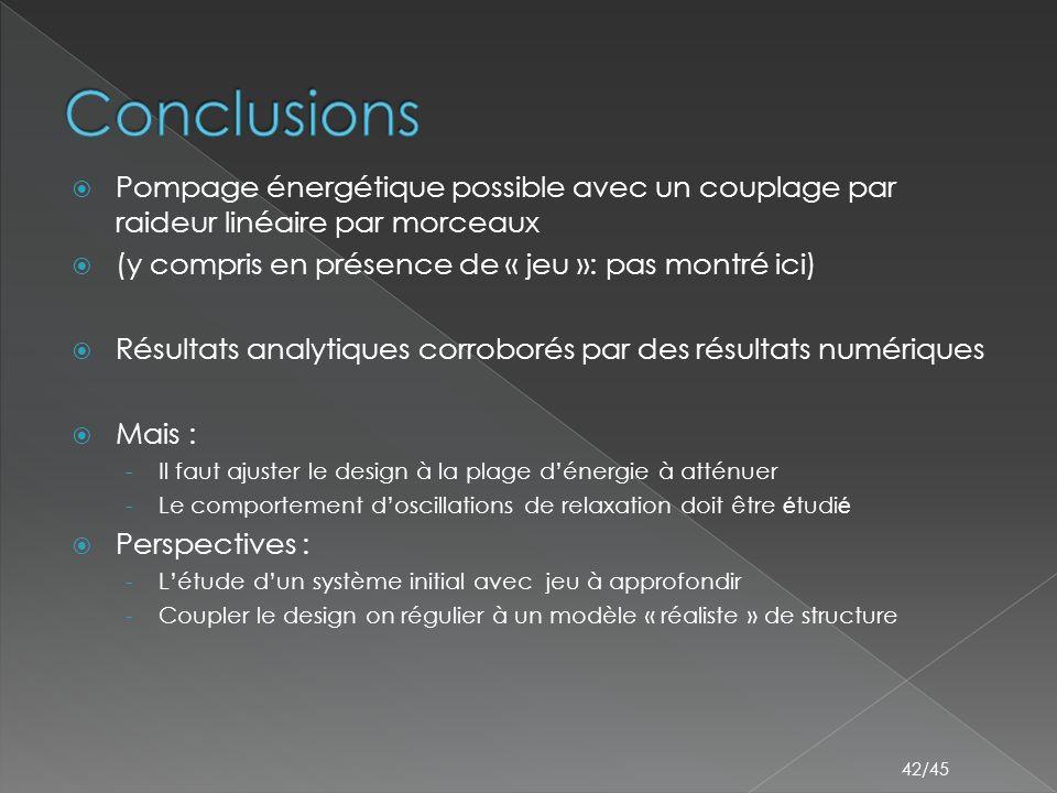  Pompage énergétique possible avec un couplage par raideur linéaire par morceaux  (y compris en présence de « jeu »: pas montré ici)  Résultats analytiques corroborés par des résultats numériques  Mais : - Il faut ajuster le design à la plage d'énergie à atténuer - Le comportement d'oscillations de relaxation doit être é tudi é  Perspectives : - L'étude d'un système initial avec jeu à approfondir - Coupler le design on régulier à un modèle « réaliste » de structure 42/45
