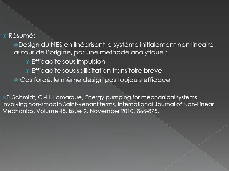  Résumé:  Design du NES en linéarisant le système initialement non linéaire autour de l'origine, par une méthode analytique :  Efficacité sous impulsion  Efficacité sous sollicitation transitoire brève  Cas forcé: le même design pas toujours efficace  F.
