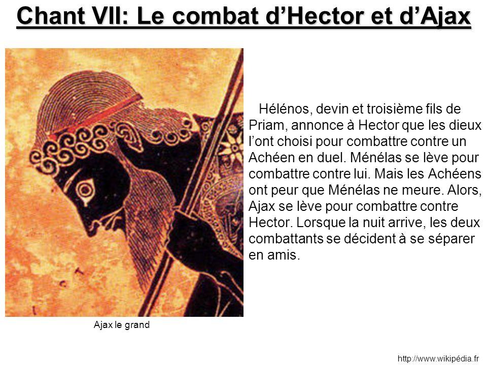 Chant VII: Le combat d'Hector et d'Ajax Hélénos, devin et troisième fils de Priam, annonce à Hector que les dieux l'ont choisi pour combattre contre u