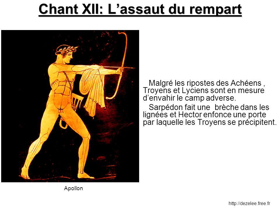 Chant XII: L'assaut du rempart Malgré les ripostes des Achéens, Troyens et Lyciens sont en mesure d'envahir le camp adverse. Sarpédon fait une brèche