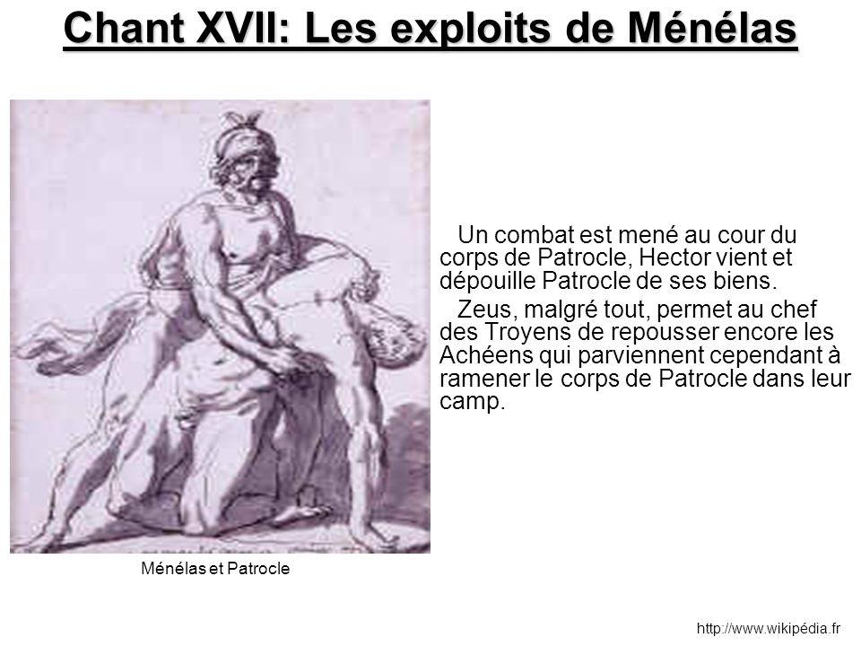 Chant XVII: Les exploits de Ménélas Un combat est mené au cour du corps de Patrocle, Hector vient et dépouille Patrocle de ses biens. Zeus, malgré tou