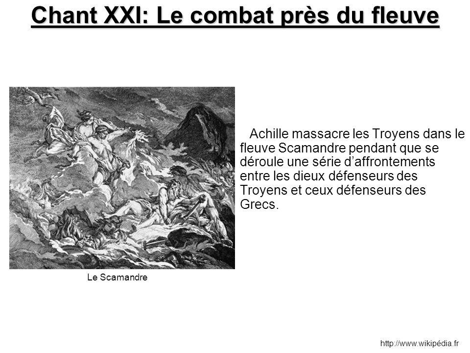 Chant XXI: Le combat près du fleuve Achille massacre les Troyens dans le fleuve Scamandre pendant que se déroule une série d'affrontements entre les d