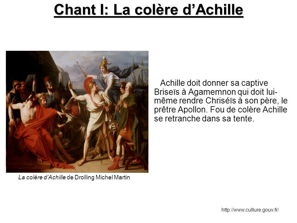 Chant I: La colère d'Achille Achille doit donner sa captive Briseïs à Agamemnon qui doit lui- même rendre Chriséïs à son père, le prêtre Apollon. Fou