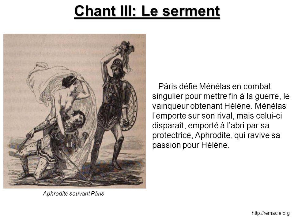 Chant III: Le serment Pâris défie Ménélas en combat singulier pour mettre fin à la guerre, le vainqueur obtenant Hélène. Ménélas l'emporte sur son riv