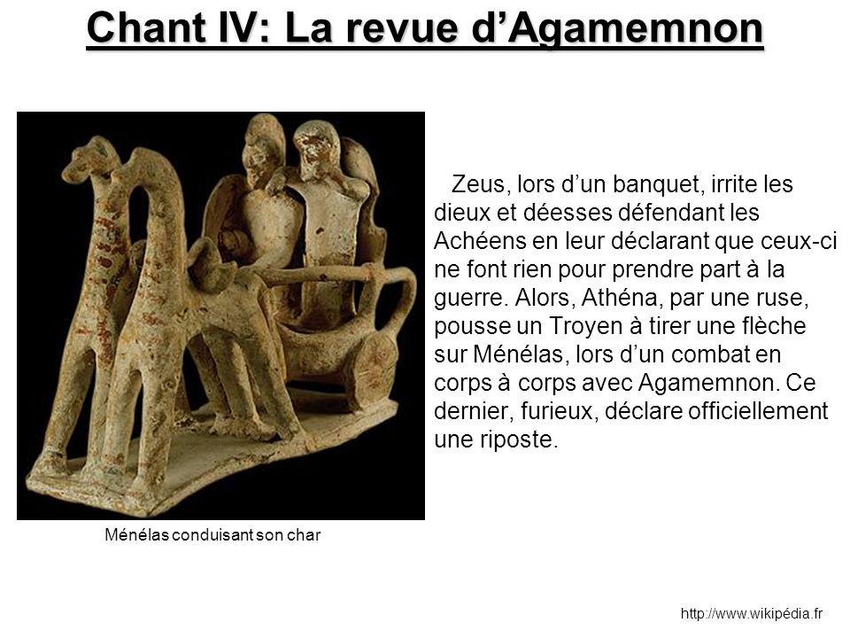 Chant IV: La revue d'Agamemnon Zeus, lors d'un banquet, irrite les dieux et déesses défendant les Achéens en leur déclarant que ceux-ci ne font rien p
