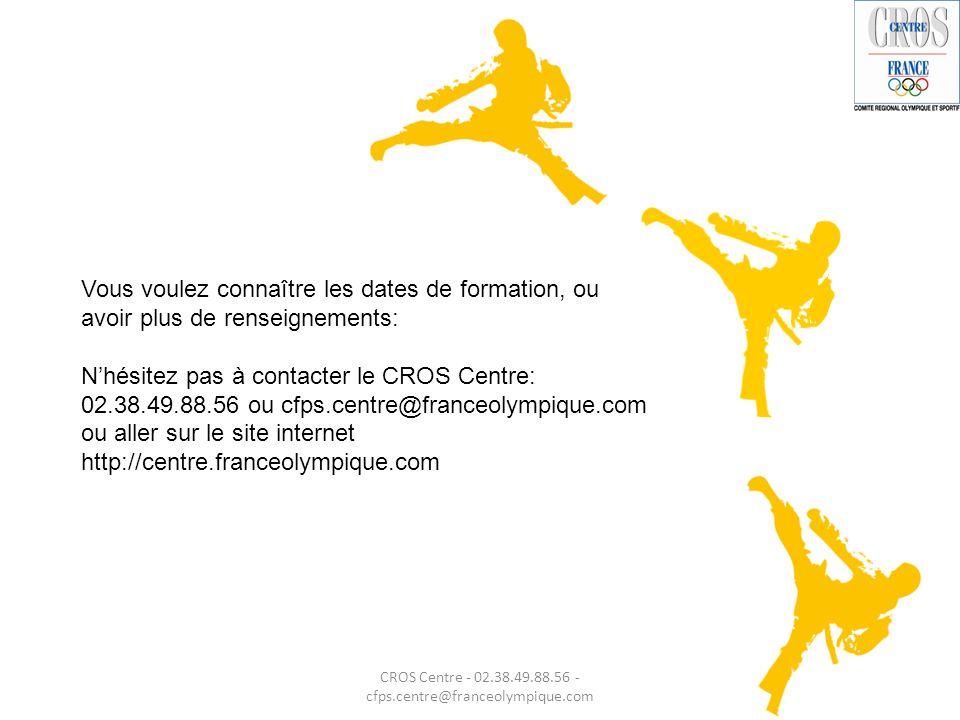 Vous voulez connaître les dates de formation, ou avoir plus de renseignements: N'hésitez pas à contacter le CROS Centre: 02.38.49.88.56 ou cfps.centre
