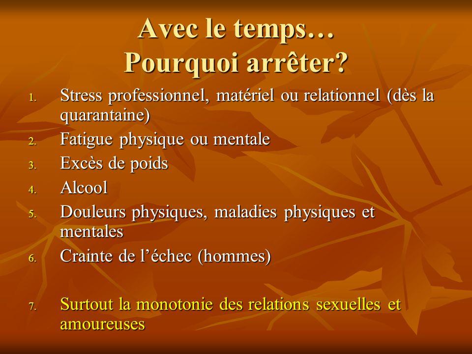 Avec le temps… Pourquoi arrêter? 1. Stress professionnel, matériel ou relationnel (dès la quarantaine) 2. Fatigue physique ou mentale 3. Excès de poid