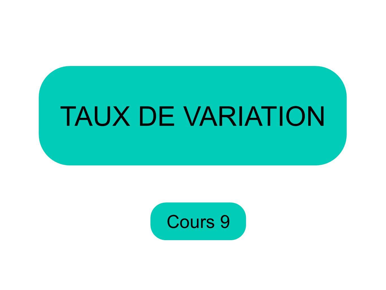 Cours 9 TAUX DE VARIATION