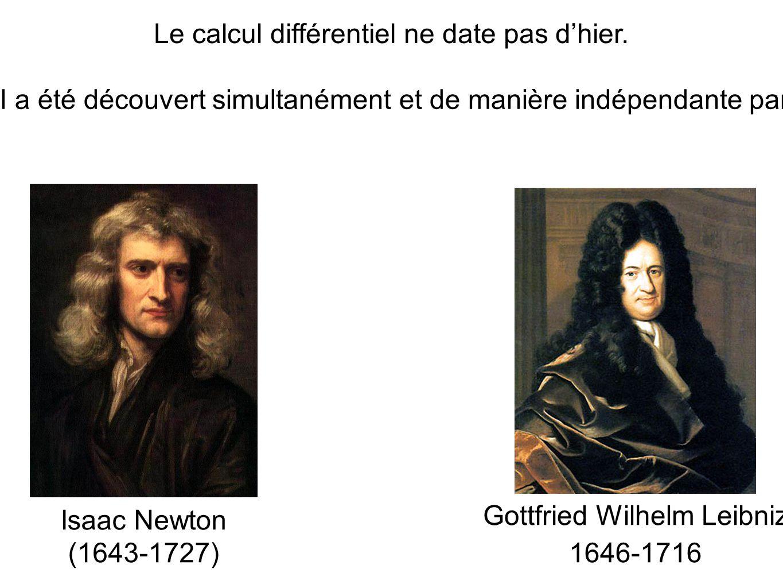 Isaac Newton (1643-1727) Gottfried Wilhelm Leibniz 1646-1716 Le calcul différentiel ne date pas d'hier. Il a été découvert simultanément et de manière