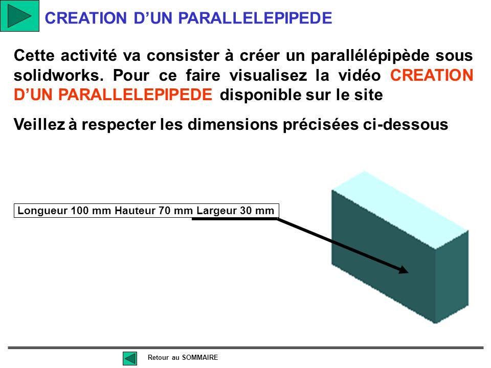CREATION D'UN CYLINDRE Cette activité va consister à créer un cylindre sous solidworks. Pour ce faire visualisez la vidéo CREATION D'UN CYLINDRE dispo
