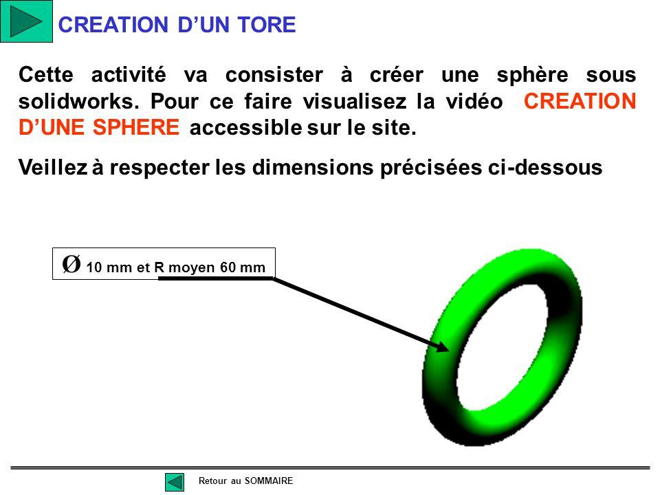 Cette activité va consister à créer une sphère sous solidworks. Pour ce faire visualisez la vidéo CREATION D'UNE SPHERE accessible sur le site. Veille