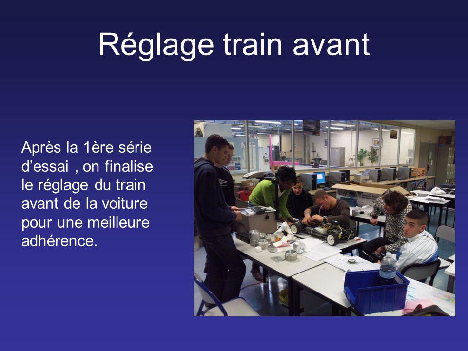 Réglage train avant Après la 1ère série d'essai, on finalise le réglage du train avant de la voiture pour une meilleure adhérence.