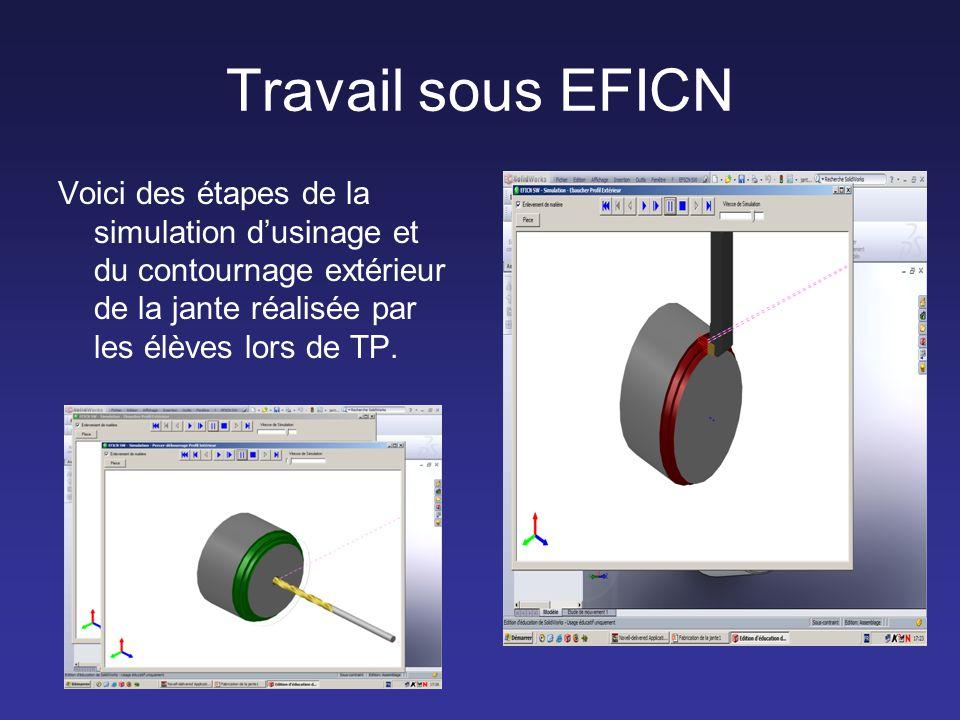 Travail sous EFICN Voici des étapes de la simulation d'usinage et du contournage extérieur de la jante réalisée par les élèves lors de TP.