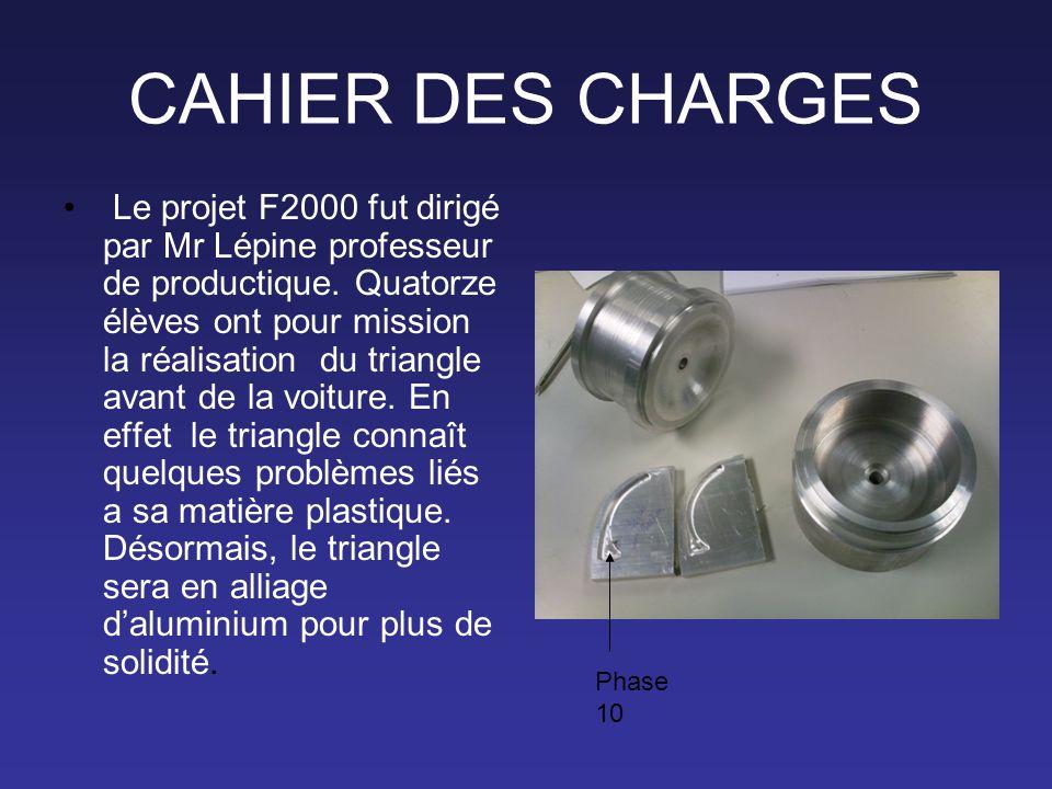 CAHIER DES CHARGES • Le projet F2000 fut dirigé par Mr Lépine professeur de productique. Quatorze élèves ont pour mission la réalisation du triangle a
