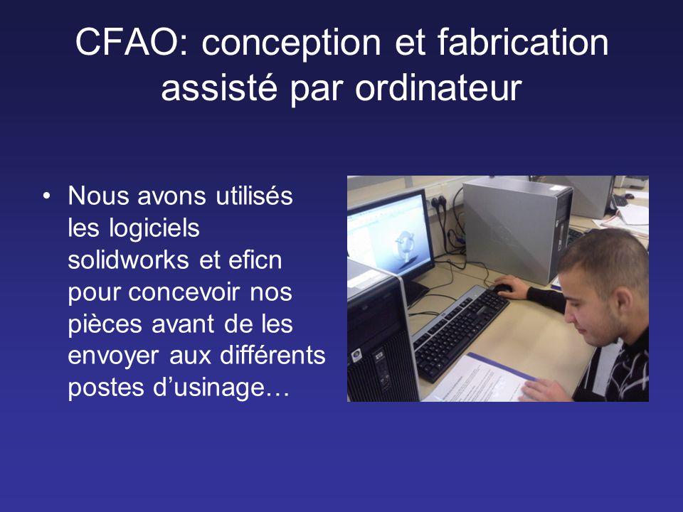 CFAO: conception et fabrication assisté par ordinateur •Nous avons utilisés les logiciels solidworks et eficn pour concevoir nos pièces avant de les e