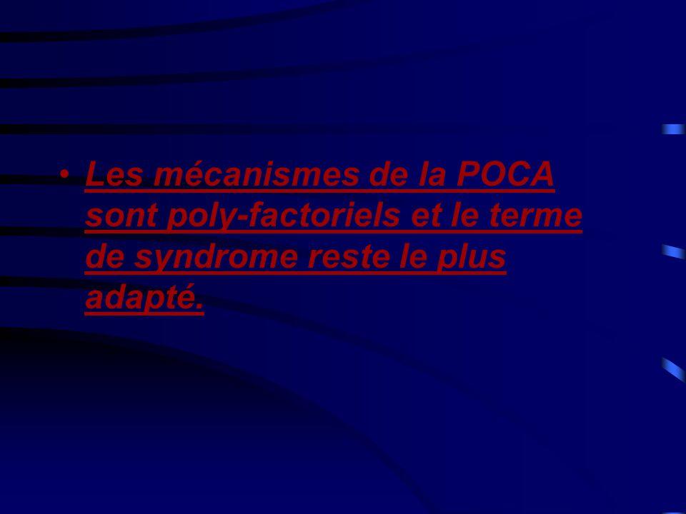 •Les mécanismes de la POCA sont poly-factoriels et le terme de syndrome reste le plus adapté.