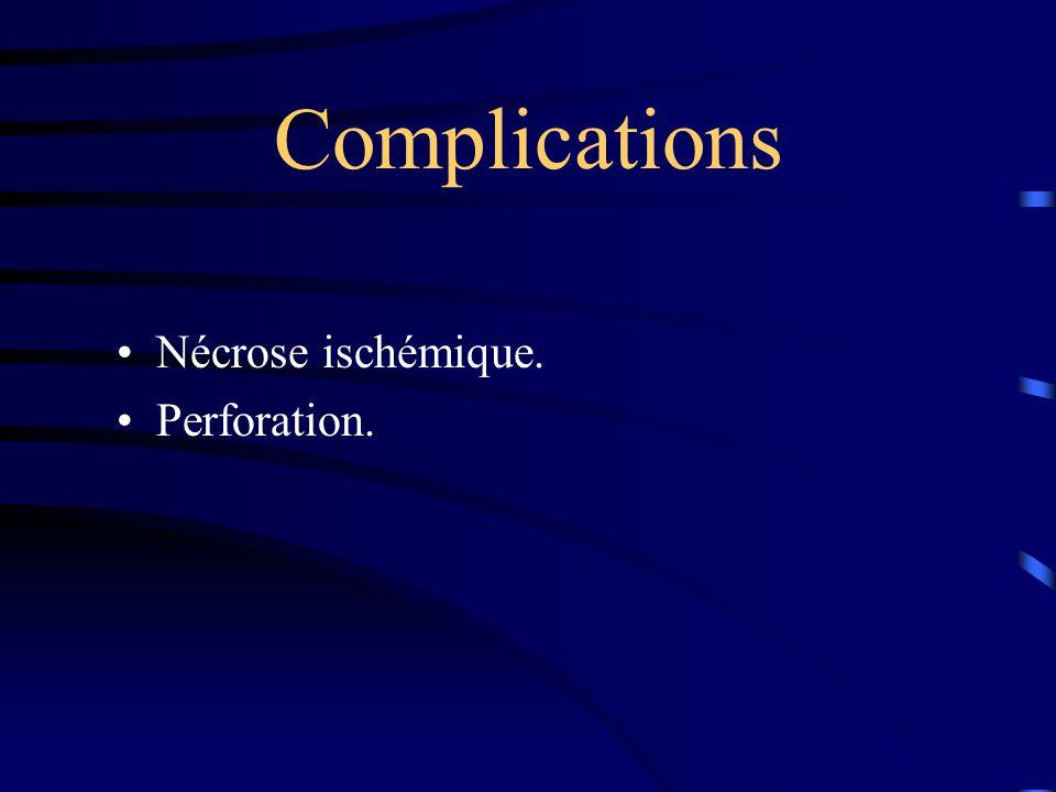 Complications •Nécrose ischémique. •Perforation.