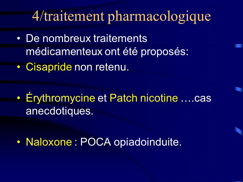4/traitement pharmacologique •De nombreux traitements médicamenteux ont été proposés: •Cisapride non retenu.