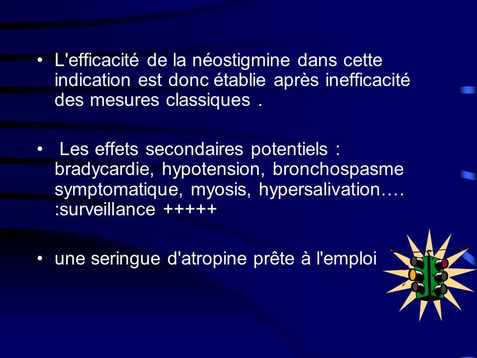 •L efficacité de la néostigmine dans cette indication est donc établie après inefficacité des mesures classiques.