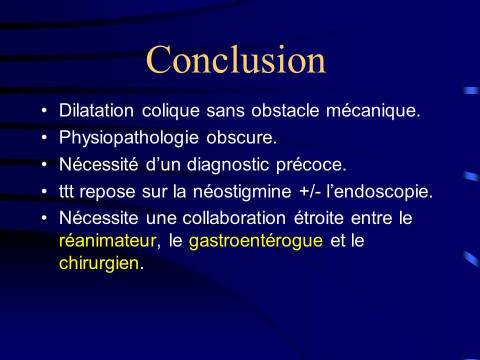 Conclusion •Dilatation colique sans obstacle mécanique.